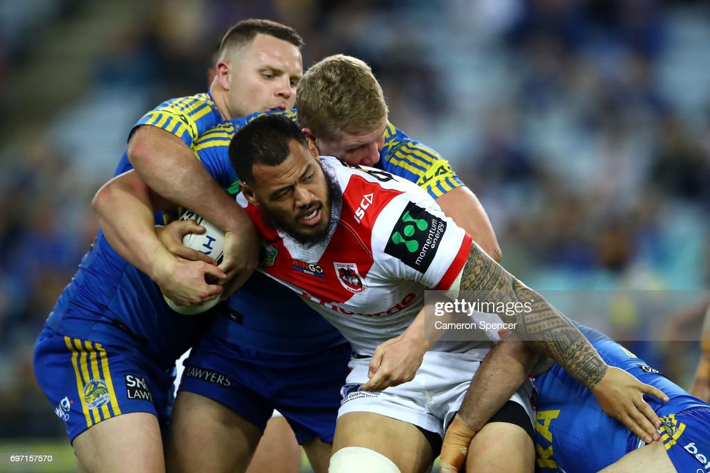 Leeson Ah Mau of the Dragons is tackled during the round 15 NRL match between the Parramatta Eels and the St George Illawarra Dragons at ANZ Stadium on June 18, 2017 in Sydney, Australia.