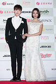 Leeteuk of South Korean boy band Super Junior and Lee HyeRi of South Korean girl group Girl's Day attend the 4th Gaon Chart KPop Awards on January 28...