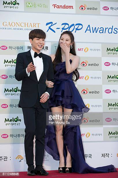 Leeteuk of South Korean boy band Super Junior and Yura of South Korean girl group Girls Day attend the 5th Gaon Chart KPop Awards on February 17 2016...