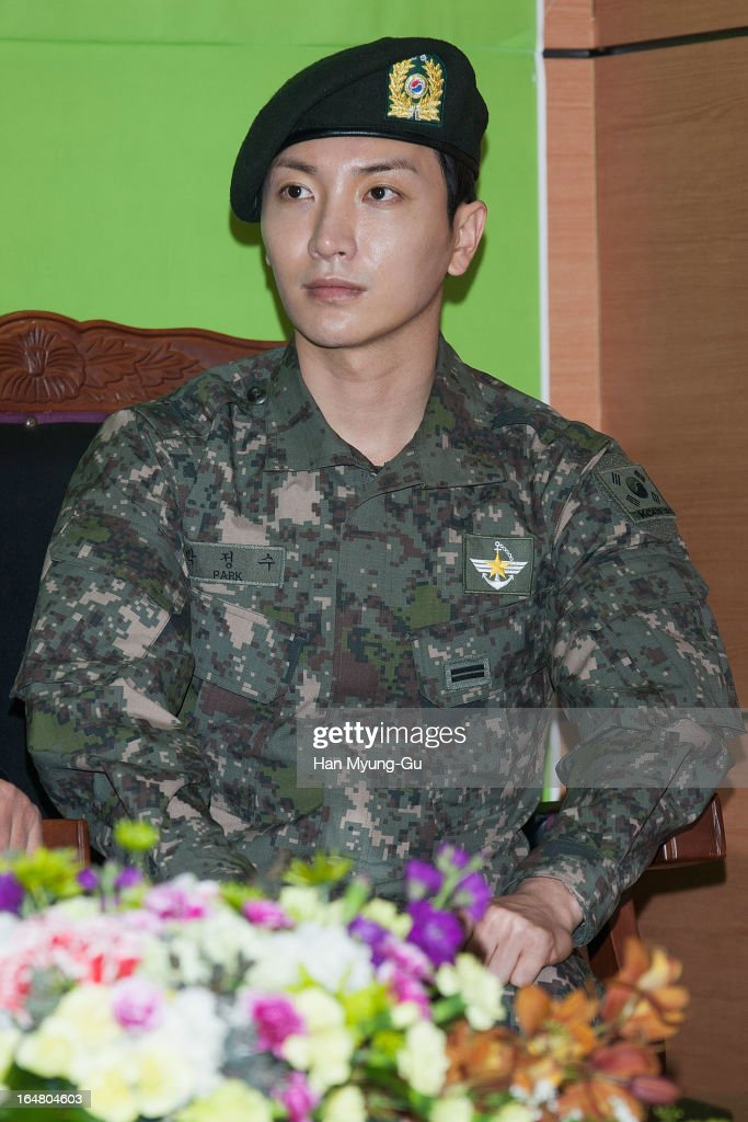 <a gi-track='captionPersonalityLinkClicked' href=/galleries/search?phrase=Leeteuk&family=editorial&specificpeople=8659856 ng-click='$event.stopPropagation()'>Leeteuk</a> of South Korean boy band Super Junior attends during Appointed As Honorary Ambassador For Military Manpower Administration on March 27, 2013 in Seoul, South Korea.