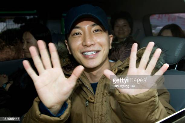 Leeteuk of South Korean boy band Super Junior joins the military on October 30 2012 in Uijeongbu South Korea