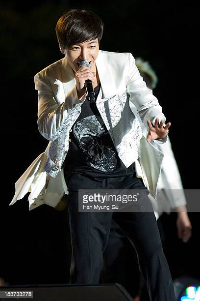 Leeteuk of South Korean boy band Super Junior performs onstage during the 2012 Gangnam Festival on October 7 2012 in Seoul South Korea