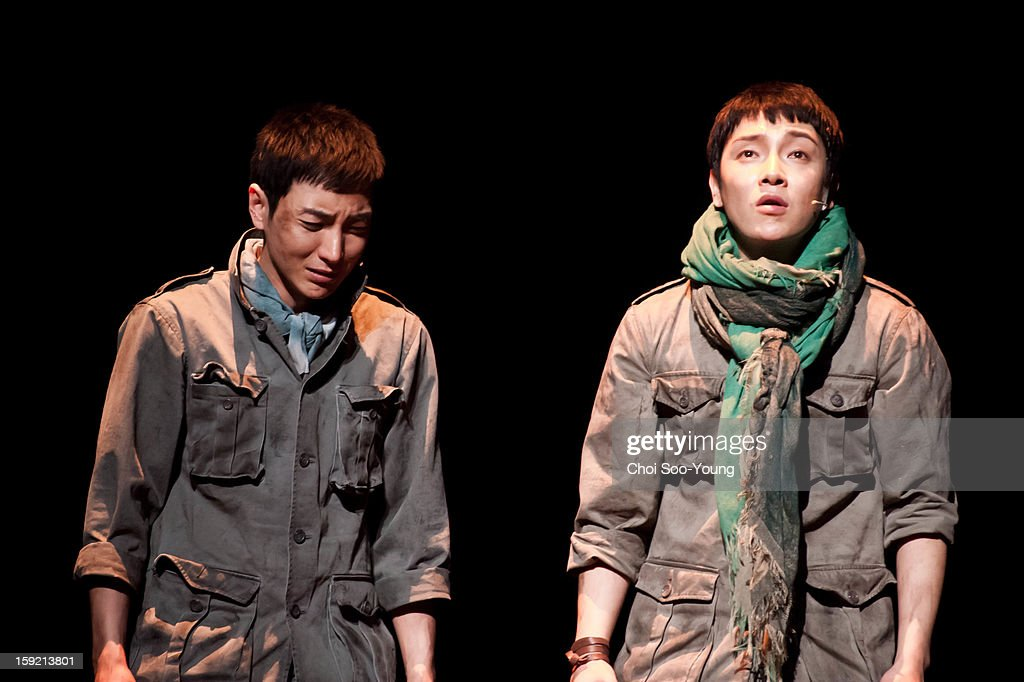 Lee-Teuk of <a gi-track='captionPersonalityLinkClicked' href=/galleries/search?phrase=Super+Junior&family=editorial&specificpeople=561135 ng-click='$event.stopPropagation()'>Super Junior</a> and Yoon-Hak of Supernova perform during the musical 'The Promise' press call at the National Theater of Korea Main Hall 'Hae' on January 8, 2013 in Seoul, South Korea.