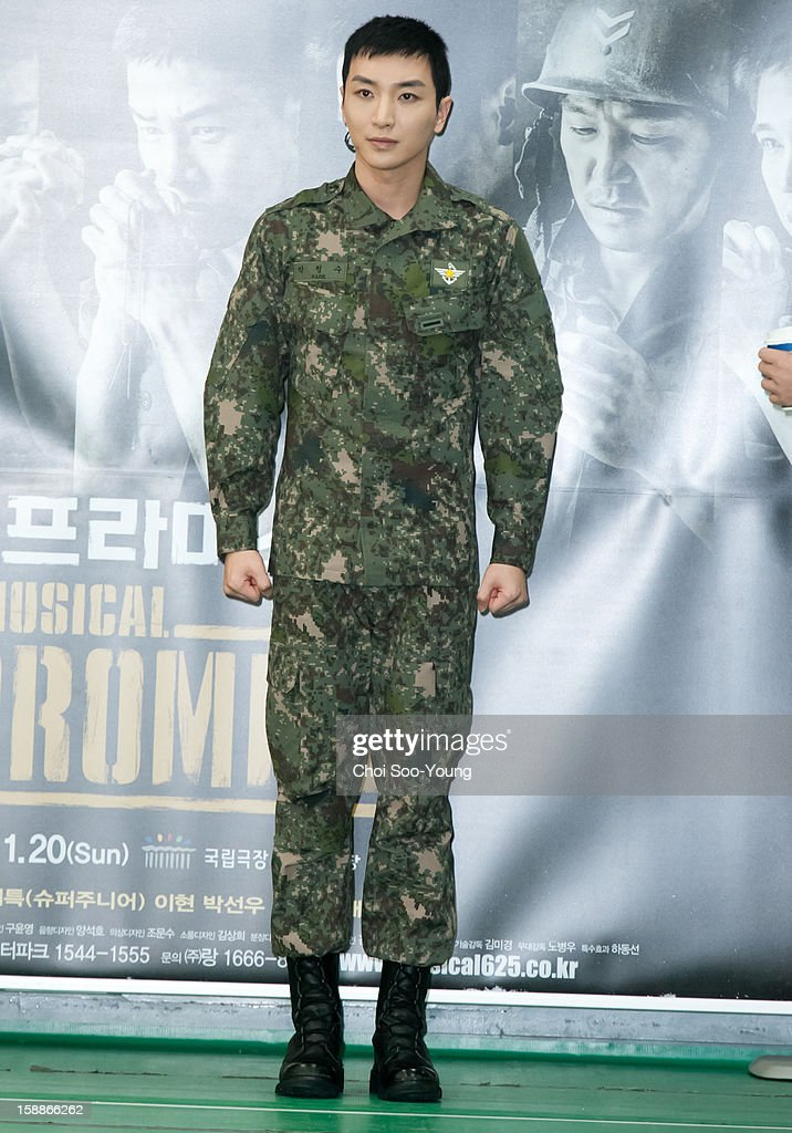 Lee-Teuk of Super Junior performs during the musical 'The Promise' rehearsal at Wooriarthall on December 27, 2012 in Seoul, South Korea.