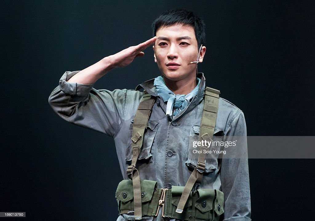 Lee-Teuk of Super Junior performs during the musical 'The Promise' press call at the National Theater of Korea Main Hall 'Hae' on January 8, 2013 in Seoul, South Korea.