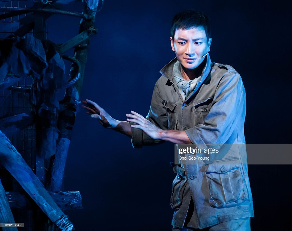Lee-Teuk of <a gi-track='captionPersonalityLinkClicked' href=/galleries/search?phrase=Super+Junior&family=editorial&specificpeople=561135 ng-click='$event.stopPropagation()'>Super Junior</a> performs during the musical 'The Promise' press call at the National Theater of Korea Main Hall 'Hae' on January 8, 2013 in Seoul, South Korea.