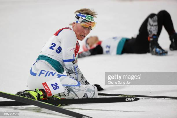 Leevi Mutru of Finland reacts after Individual Gundersen 10km Large Hill during the FIS Nordic Combined World Cup presented by Viessmann Test Event...