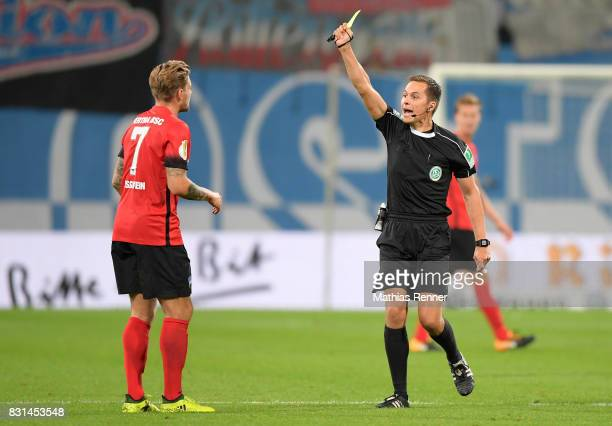 left Alexander Esswein of Hertha BSC during the game between FC Hansa Rostock and Hertha BSC on August 14 2017 in Rostock Germany