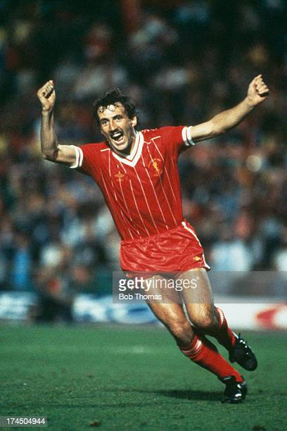 Left back Alan Kennedy celebrates after his penalty won the European Cup Final for Liverpool at the Stadio Olimpico Rome 30th May 1984 Liverpool won...