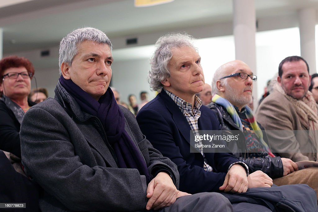 Left candidate Nichi Vendola and Gianfranco Bettin attend the Electoral Campaign at Palaplip on February 5, 2013 in Mestre, Italy. Sinistra Ecologia e Liberta is a party in the centre-left coalition led by Pierluigi Bersani that will contest the upcoming election in February.