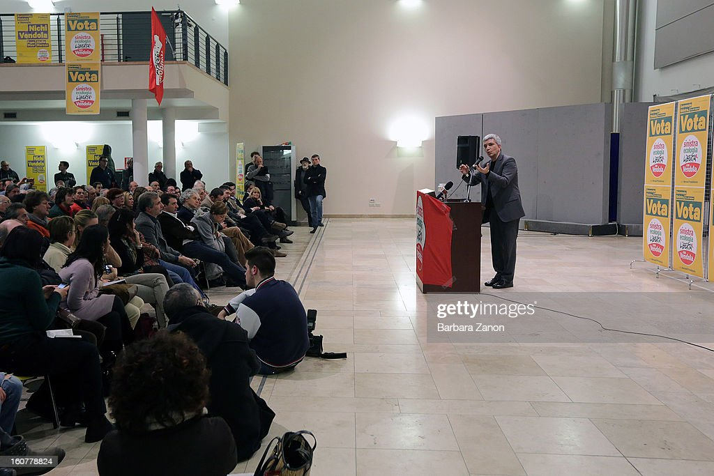 Left candidate Nichi Vendola speaks on stage during the Electoral Campaign at Palaplip on February 5, 2013 in Mestre, Italy. Sinistra Ecologia e Liberta is a party in the centre-left coalition led by Pierluigi Bersani that will contest the upcoming election in February.