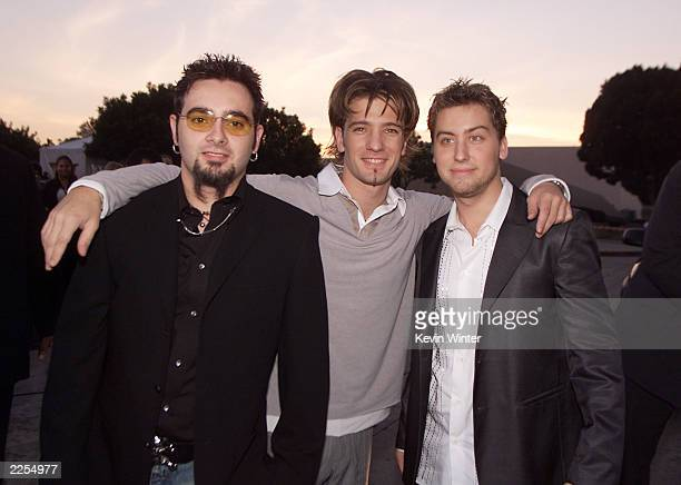 Left Chris Kirkpatrick JC Chasez and Lance Bass of *N Sync arrive at the 28th Annual People's Choice Awards held at the Pasadena Civic Auditorium in...