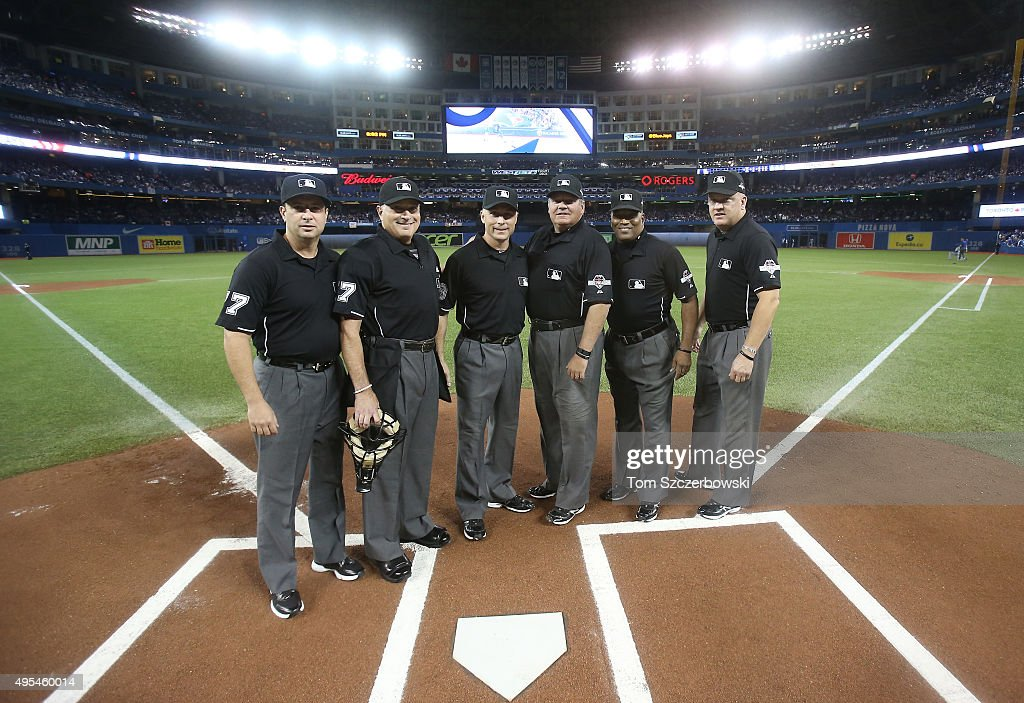 Left field umpire Jim Reynolds and home plate umpire John Hirschbeck and second base umpire Dan Iassogna and first base umpire Hunter Wendelstedt and...