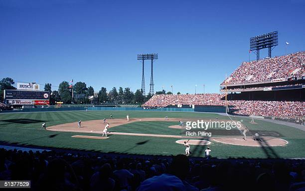 Left field view of Memorial Stadium with the Baltimore Orioles on field circa 1982 in Baltimore Maryland