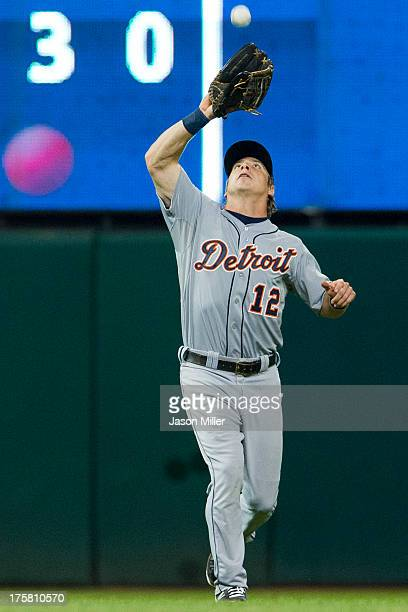 Left fielder Andy Dirks of the Detroit Tigers catches a fly ball hit by Carlos Santana of the Cleveland Indians during the seventh inning at...