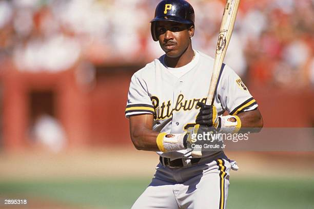 Left fielder Barry Bonds of the Pittsburgh Pirates at bat during the game against the San Francisco Giants at Candlestick Park in 1991 in San...