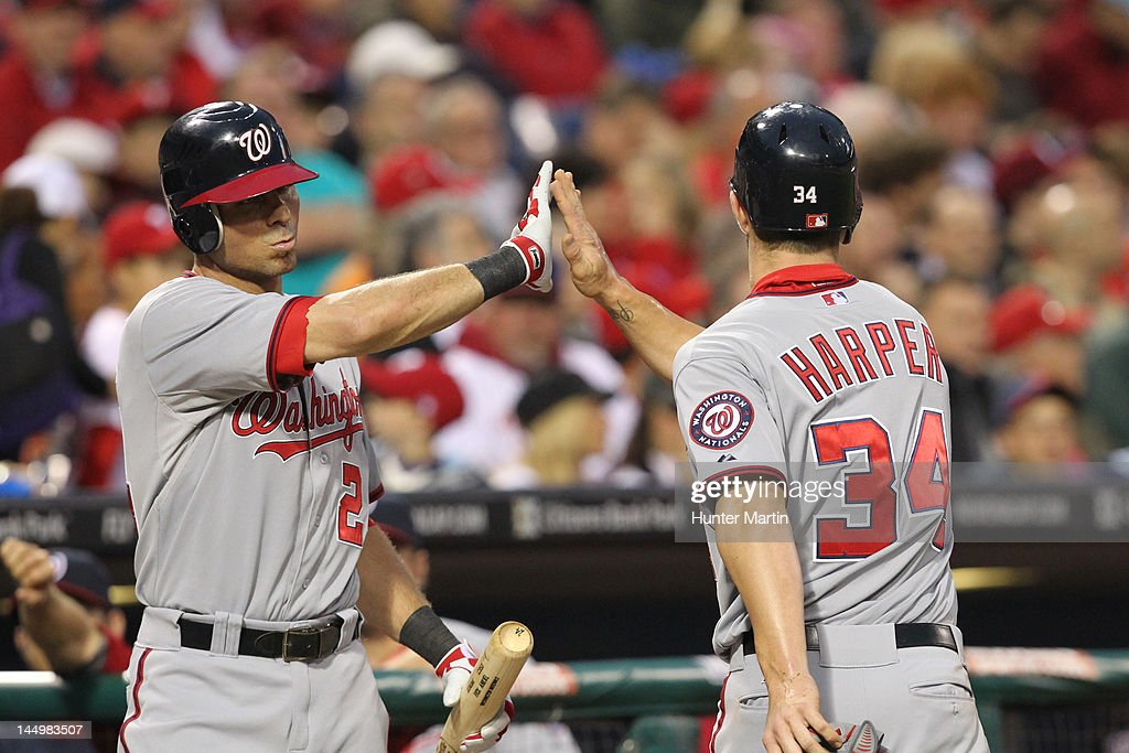 Left fielder <a gi-track='captionPersonalityLinkClicked' href=/galleries/search?phrase=Bryce+Harper&family=editorial&specificpeople=5926486 ng-click='$event.stopPropagation()'>Bryce Harper</a> #34 of the Washington Nationals is congratulated by center fielder <a gi-track='captionPersonalityLinkClicked' href=/galleries/search?phrase=Rick+Ankiel&family=editorial&specificpeople=803371 ng-click='$event.stopPropagation()'>Rick Ankiel</a> #24 after scoring a run during a game against the Philadelphia Phillies at Citizens Bank Park on May 21, 2012 in Philadelphia, Pennsylvania.