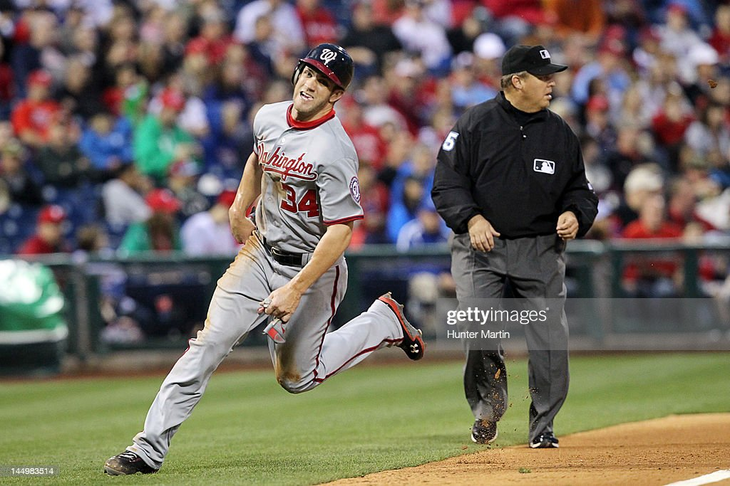 Left fielder <a gi-track='captionPersonalityLinkClicked' href=/galleries/search?phrase=Bryce+Harper&family=editorial&specificpeople=5926486 ng-click='$event.stopPropagation()'>Bryce Harper</a> #34 of the Washington Nationals rounds third base during a game against the Philadelphia Phillies at Citizens Bank Park on May 21, 2012 in Philadelphia, Pennsylvania.