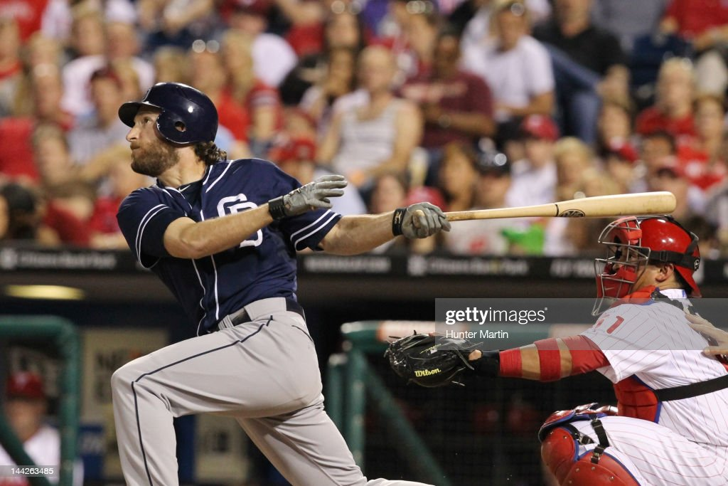 Left fielder <a gi-track='captionPersonalityLinkClicked' href=/galleries/search?phrase=Chris+Denorfia&family=editorial&specificpeople=702417 ng-click='$event.stopPropagation()'>Chris Denorfia</a> #13 of the San Diego Padres bats during a game against the Philadelphia Phillies at Citizens Bank Park on May 12, 2012 in Philadelphia, Pennsylvania.