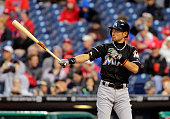 Left fielder Ichiro Suzuki of the Miami Marlins stands in the batters box in the second inning during a game against the Philadelphia Phillies at...