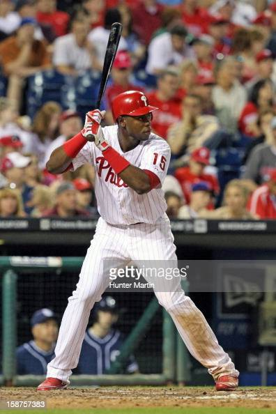 Left fielder John Mayberry Jr #15 of the Philadelphia Phillies during a game against the San Diego Padres at Citizens Bank Park on May 12 2012 in...