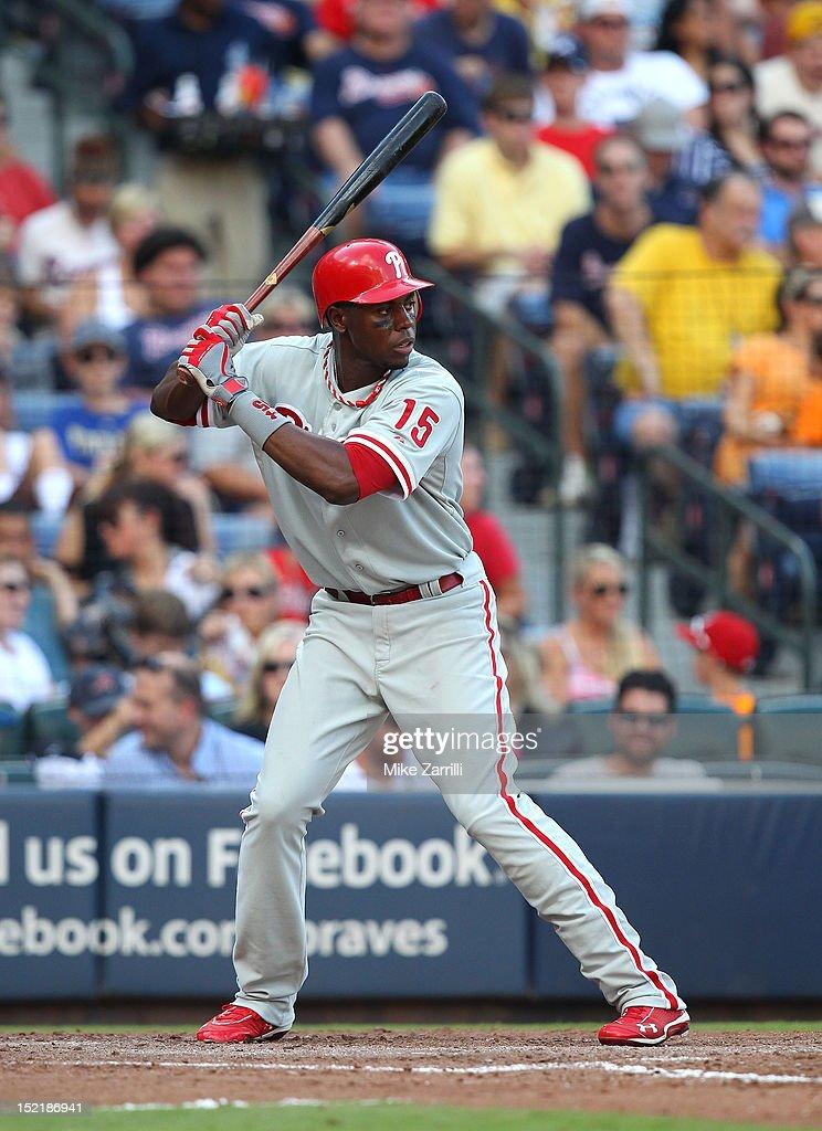 Left fielder John Mayberry Jr. #15 of the Philadelphia Phillies gets set in the batter's box during the game against the Atlanta Braves at Turner Field on September 1, 2012 in Atlanta, Georgia.