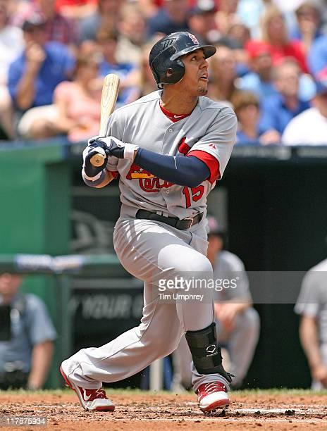 Left fielder Jon Jay of the St Louis Cardinals bats against the Kansas City Royals at Kauffman Stadium on May 22 2011 in Kansas City Missouri The...