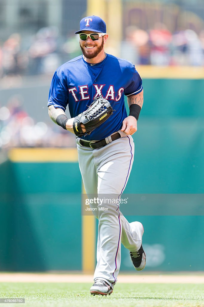 Left fielder <a gi-track='captionPersonalityLinkClicked' href=/galleries/search?phrase=Josh+Hamilton+-+Baseball+Player&family=editorial&specificpeople=234355 ng-click='$event.stopPropagation()'>Josh Hamilton</a> #32 of the Texas Rangers runs in after the end of the fourth inning against the Cleveland Indians at Progressive Field on May 27, 2015 in Cleveland, Ohio.
