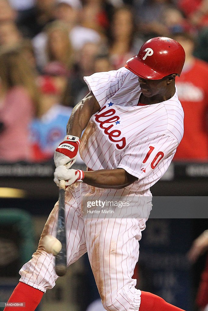 Left fielder <a gi-track='captionPersonalityLinkClicked' href=/galleries/search?phrase=Juan+Pierre&family=editorial&specificpeople=202961 ng-click='$event.stopPropagation()'>Juan Pierre</a> #10 of the Philadelphia Phillies bats during a game against the New York Mets at Citizens Bank Park on May 8, 2012 in Philadelphia, Pennsylvania.