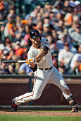 Left fielder Mac Williamson of the San Francisco Giants flies out to center field against the Colorado Rockies in the sixth inning at ATT Park on...