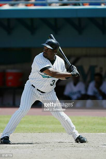 Left fielder Tim Raines of the Florida Marlins waits for the pitch during the MLB game against the Arizona Diamondbacks at Pro Player Stadium in...