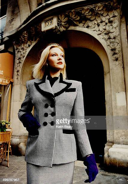 Left from her fall line a double breasted houndstooth suit with black velvet trim will be $875 Emmanuelle Khanh is carried at Quasar Mode and Eaton's...