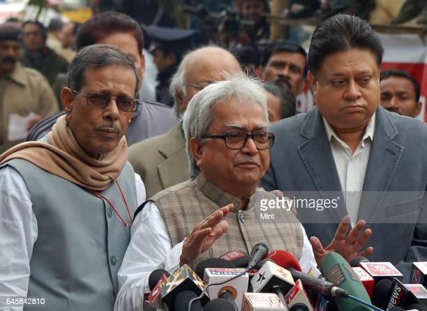 Left Front Chairman Bose Biman Bose with Jyoti Basu son Chandan Bose at a press conference on January 17 2010 in Kolkata India