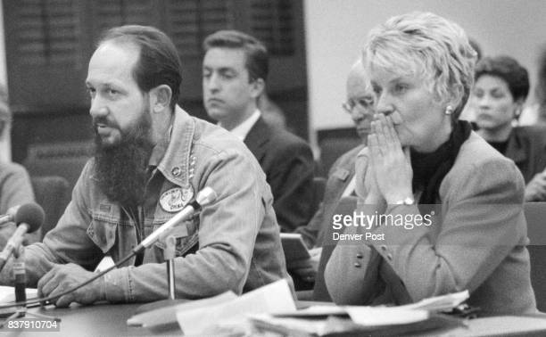 Left is A1 Mewborn representing Colo Motorcycle Riders right is Jana Mendez Dem Senitor from Longmont who is introduceing the Helmet bill Credit The...