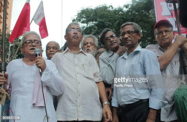 Left leaders Mr Biman Basu Manoj Bhattacharya Ashim Chatterjee Surya Kanta Mishra Kartik Pal and Rabin Deb attended a protest rally and meeting...