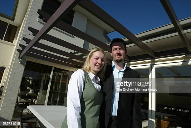 Left Nathan and Melissa Hesse at Macarthur Gardens a new estate on their back deck attached to the house Campbelltown 5 September 2005 SMH Picture by...
