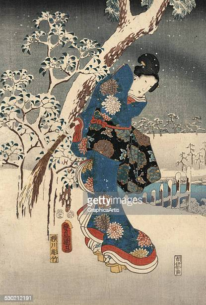 Left panel from the series 'A modern version of the Tale of Genji in snow scenes' by Utagawa Kunisada and Ando Hiroshige 1853