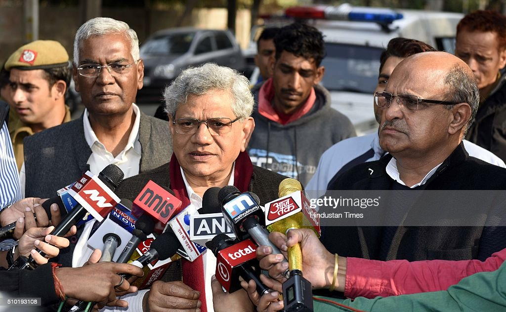 Left parties leaders D Raja, Sitaram Yechury and K C Tyagi talking to the media at 6 flag staff road after meeting with Delhi CM Arvind Kejriwal on JNU row, on February 13, 2016 in New Delhi, India. Left parties leaders seeking a magisterial probe to establish the 'authenticity' of evidence produced against JNUSU president Kanhaiya Kumar.