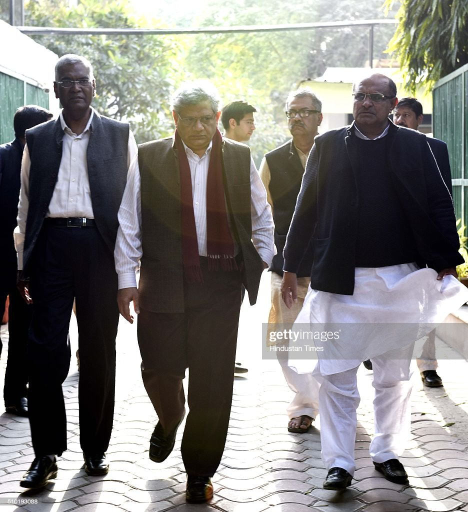 Left parties leaders D Raja, Sitaram Yechury, Nuiltpal Basu and K C Tyagi coming out of 6 flag staff road after meeting with Delhi CM Arvind Kejriwal on JNU row, on February 13, 2016 in New Delhi, India. Left parties leaders seeking a magisterial probe to establish the 'authenticity' of evidence produced against JNUSU president Kanhaiya Kumar.