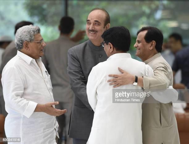 Left party leader Sitaram Yechuri Congress party leaders Ghulam Nabi Azad Ahmed Patel and Rashtriya Lokdal party leader Ajit Singh during Opposition...