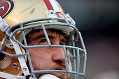 Left tackle Joe Staley of the San Francisco 49ers watches the action from the sideline during a game against the Cleveland Browns on December 13 2015...
