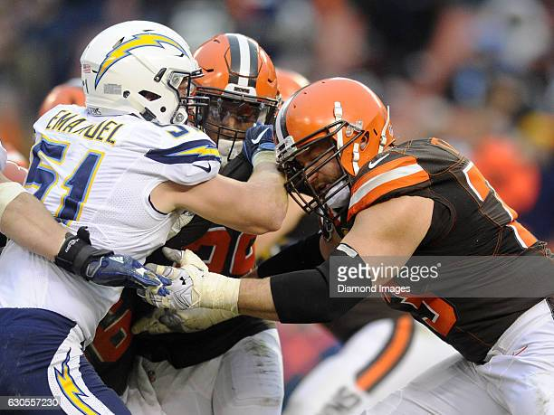 Left tackle Joe Thomas of the Cleveland Browns engages with linebacker Kyle Emanuel of the San Diego Chargers during a game on December 24 2016 at...
