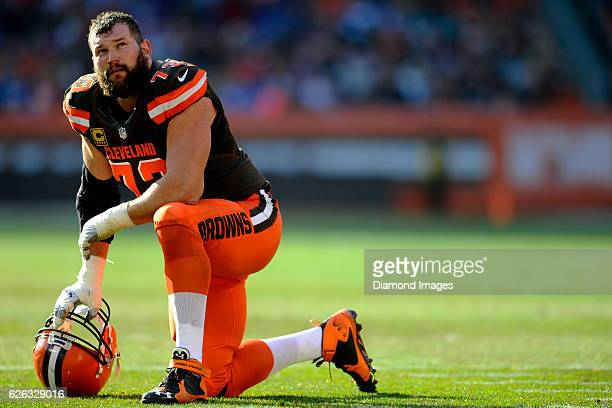 Left tackle Joe Thomas of the Cleveland Browns kneels during timeout in the second quarter of a game against the New York Giants on November 27 2016...