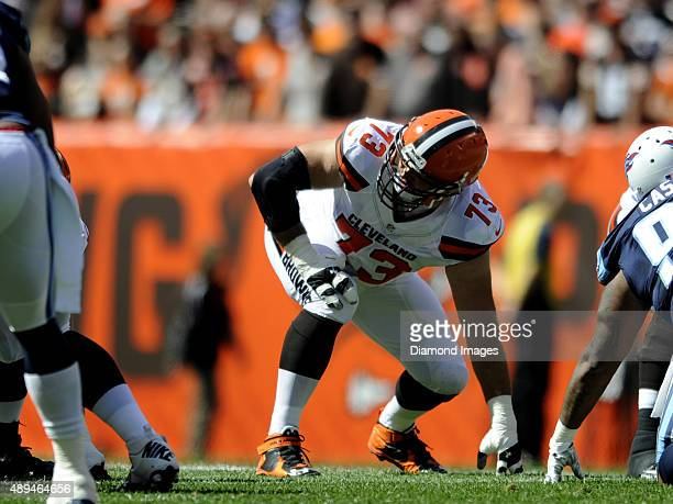Left tackle Joe Thomas of the Cleveland Browns looks back to get a play call during a game against the Tennessee Titans on September 20 2015 at...