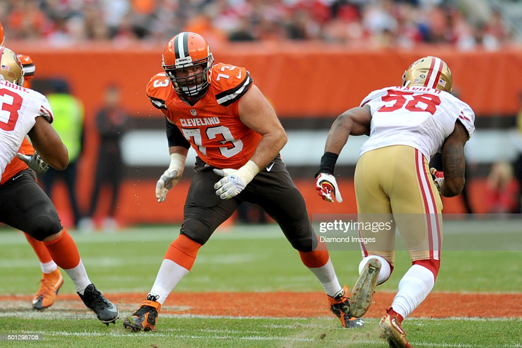 Left tackle Joe Thomas of the Cleveland Browns prepares to engage a defender during a game against the San Francisco 49ers on December 13 2015 at...