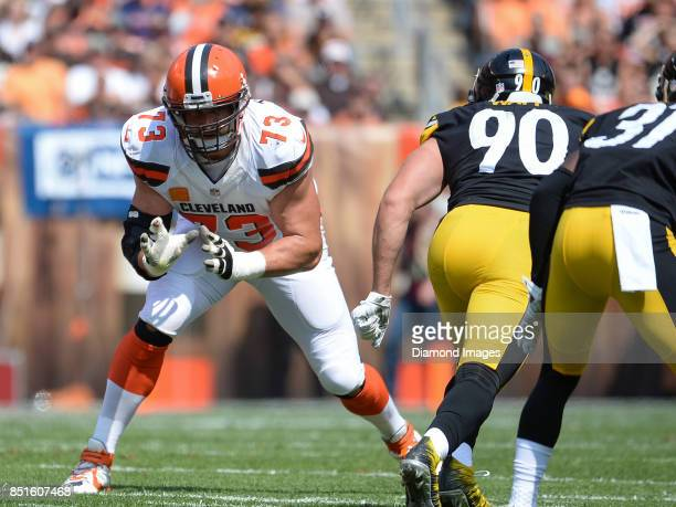 Left tackle Joe Thomas of the Cleveland Browns prepares to engage linebacker TJ Watt of the Pittsburgh Steelers in the first quarter of a game on...