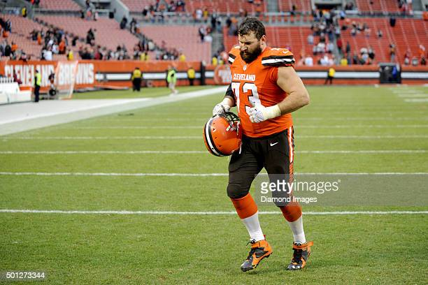 Left tackle Joe Thomas of the Cleveland Browns runs off the field after a game against the San Francisco 49ers on December 13 2015 at FirstEnergy...