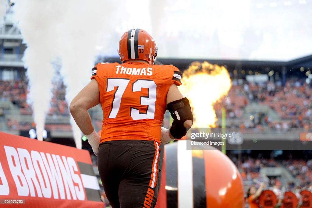 Left tackle Joe Thomas of the Cleveland Browns runs onto the field prior to a game against the San Francisco 49ers on December 13 2015 at FirstEnergy...