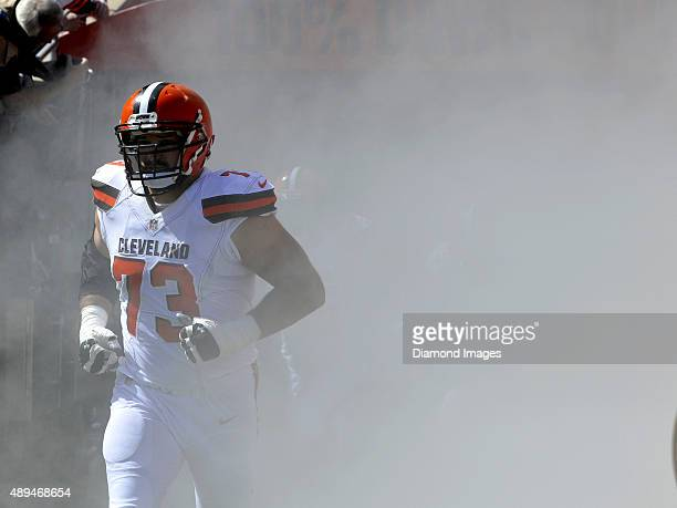 Left tackle Joe Thomas of the Cleveland Browns runs out of the tunnel prior to a game against the Tennessee Titans on September 20 2015 at...