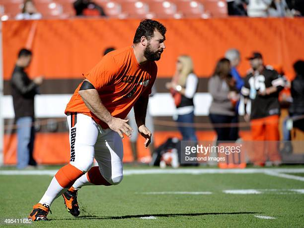 Left tackle Joe Thomas of the Cleveland Browns takes part in a drill prior to a game against the Arizona Cardinals on November 1 2015 at FirstEnergy...
